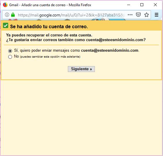 Imagen 6 - Configurar una cuenta de correo de Nominalia en Gmail - Enviar mensajes