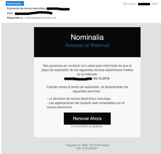Email de phishing: intento de suplantar la identidad de Nominalia