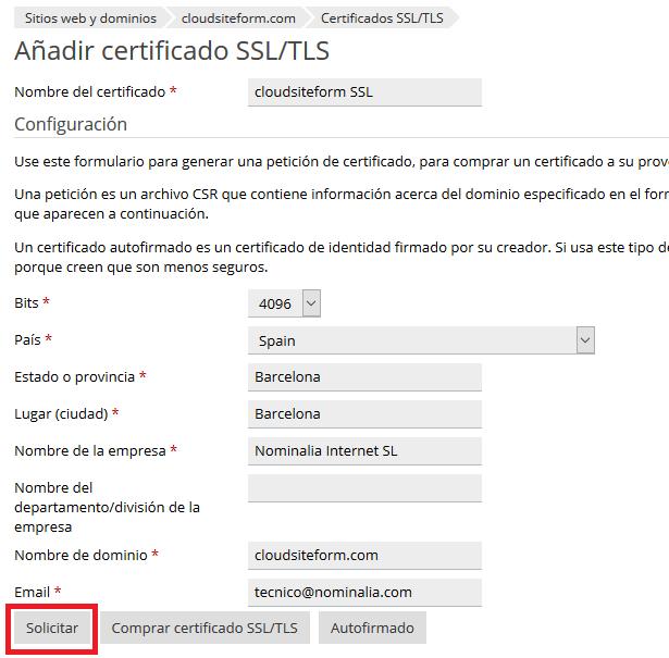 Imagen 3 - Cómo instalar un certificado SSL en Plesk Onyx - Generar CSR