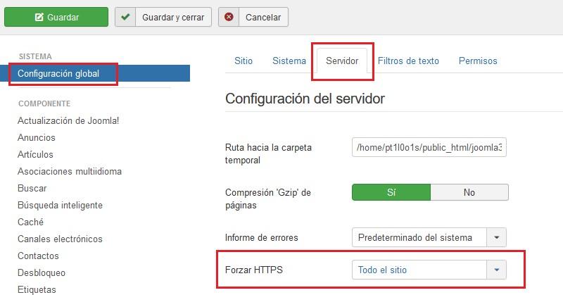 HTTPS en Joomla