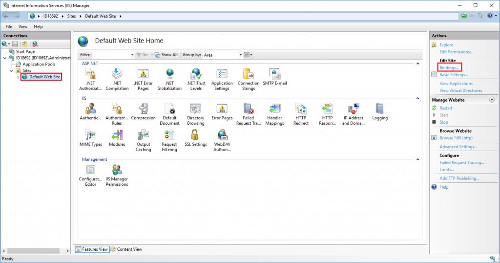 Imagen 9 - Cómo instalar un certificado SSL en Windows Server 2016 IIS Manager