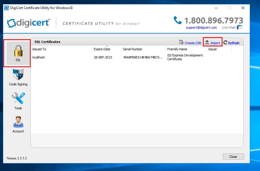 Imagen 6 - Cómo instalar un certificado SSL en Windows Server 2016 Importar DigiCert