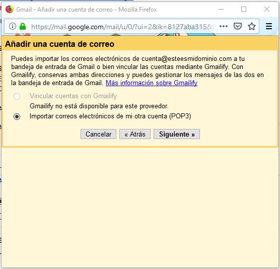 Imagen 4 - Configurar una cuenta de correo de Nominalia en Gmail - Importar POP3