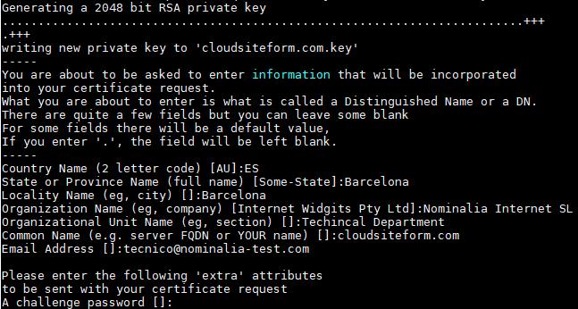 Imagen 2 - Cómo instalar un certificado SSL en Debian o Ubuntu Formulario Ejemplo Consola