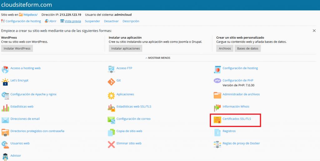 Imagen 1 - Cómo instalar un certificado SSL en Plesk Onyx - Panel de Control