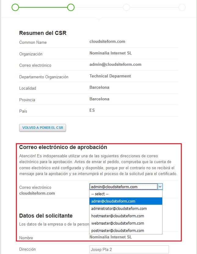 Imagen 5 - Cómo instalar un certificado SSL en CentOS 7 Resumen del CSR