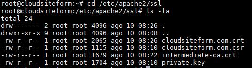 Imagen 7 - Cómo instalar un certificado SSL en Debian o Ubuntu Ruta etc/apache2/ssl