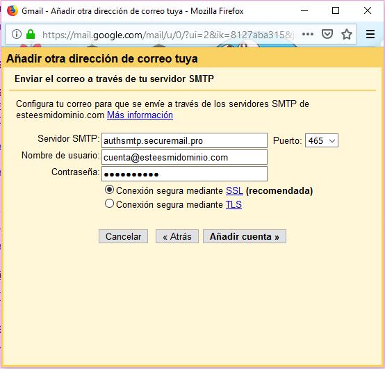 Imagen 8 - Configurar una cuenta de correo de Nominalia en Gmail - SMTP