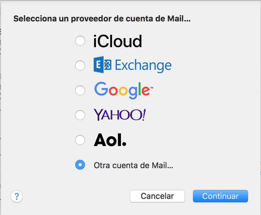 Imagen 2 - Configurar un correo en Mail de Mac OS High Sierra y Mojave Seleccionar proveedor