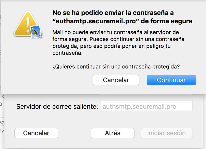 Imagen 6 - Configurar un correo en Mail de Mac OS High Sierra y Mojave Ventana emergente