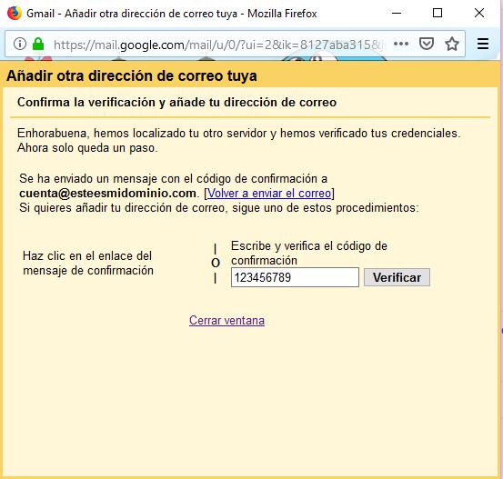 Imagen 9 - Configurar una cuenta de correo de Nominalia en Gmail - Confirmar Verificar Cuenta