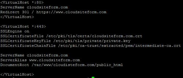 Imagen 14 - Cómo instalar un certificado SSL en CentOS 7 VirtualHost 2