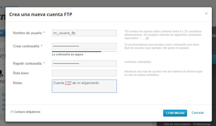 Crear usuario ftp en el alojamiento del dominio de Nominalia