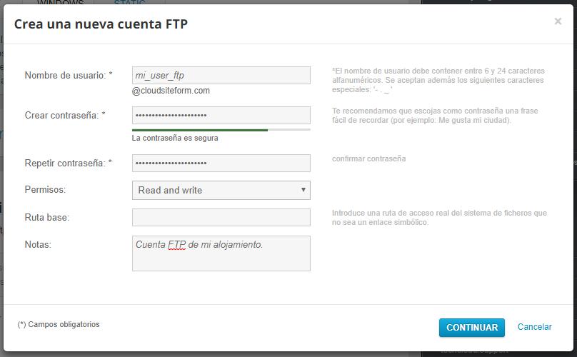 gestionar FTP con hosting windows Nominalia