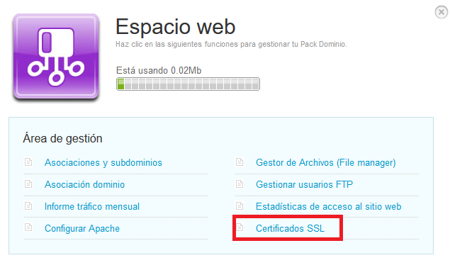 Emitir SSL Espacio Web