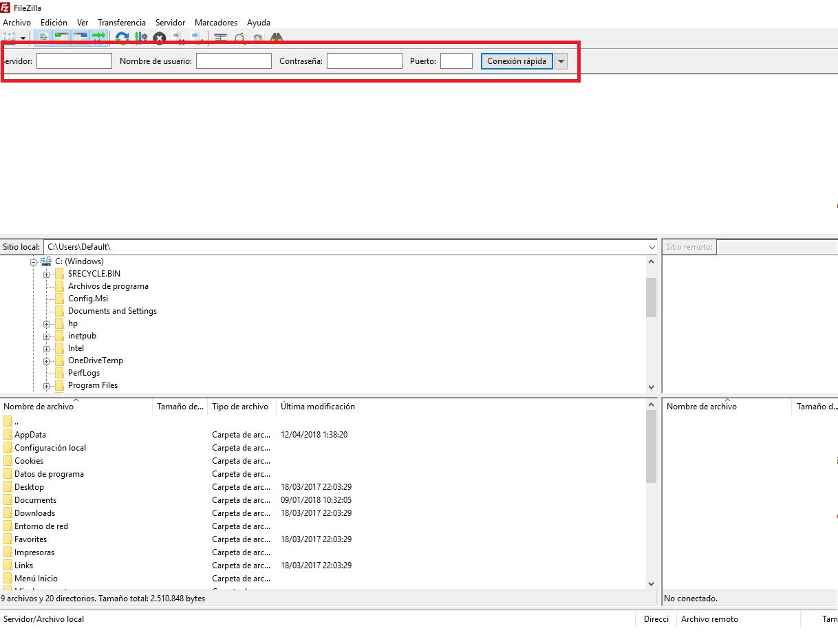 FTP con Filezilla