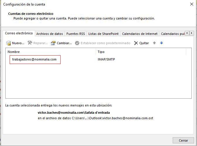 Configurar correo en Outlook 2013