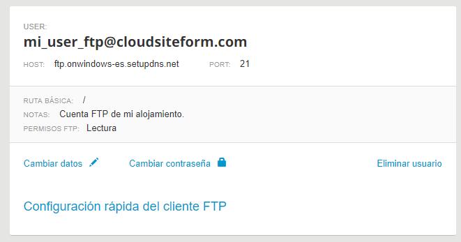 FTP datos conexión