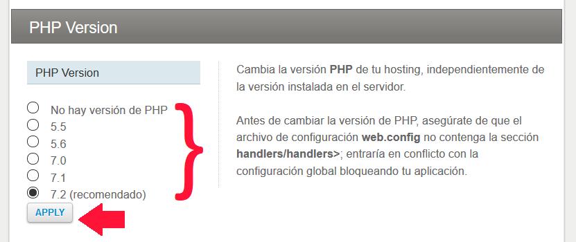 versiones php disponibles